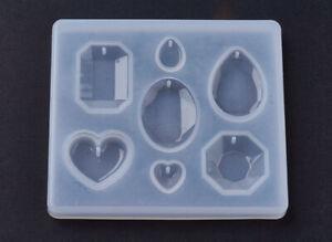 1pz stampo in silicone per resina fai da te ciondolo forma gemma 89x79mm bijoux