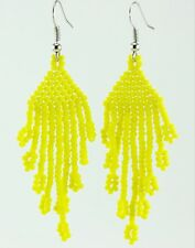 Handmade Toho Glass Seed Beads Opaque-Frosted Dandelion Beaded Earrings