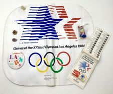 Vintage 1984 Olympic Memorabilia- Seat Cushion-Pins-Button-Event Map-Eagle