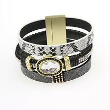 Black Rhinestone CZ Leather Vintage Gold Plate Bangle Punk Cuff Bracelet Jewelry