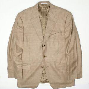 NWOT Joseph Abboud Mens Sport Coat 42R Beige Brown Check Wool Silk Linen Jacket
