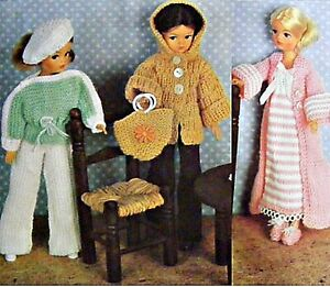 Sindy Barbie Knitting Pattern Dolls Clothes 4 ply Dressing Gown Jacket Bag