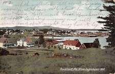 Rockland Maine Ingrahams Hill Birdseye View Antique Postcard K39567