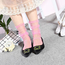 Women Lady Chiffon Ankle High Socks Mesh Sheer Lace Fish Net Ruff Ankle Socks