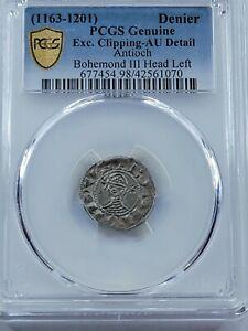 PCGS AU Detail Bohemond III AR Denier. Principality of Antioch. 1150-1210 AD.