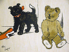 Cecil Aldin c 1900 LITTLE BLACK PUPPY Playing with a Teddy Bear DOG Print Matted