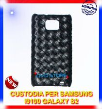 Pellicola+Custodia WOVEN NERA per Samsung I9100 galaxy s2 plus I9105