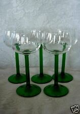 Set of 5 Vintage Green/Crystal Blown Glass Cordial/Wine Goblets - Made in France
