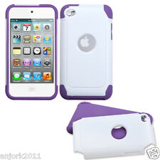 Apple iPod Touch 4 FROSTY FUSION HYBRID CASE SKIN COVER ACCESSORY WHITE PURPLE