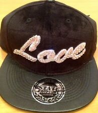 Love Kids Snapback Caps, Diamante Velvet Feel Flat Peak Hats, Hip Hop Baseball