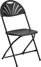 (10 PACK) 650 Lbs Capacity Commercial Grade Fan Back Black Plastic Folding Chair