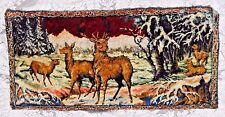 VINTAGE PLUSH DEER TAPESTRY 40 by 19.5 INCHES