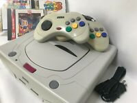 Sega Saturn Console Japan White 2controllers lot of 3games JP NTSC-J Bomber Man