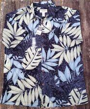 NWT Cooke Street Hawaiian Short Sleeve Palm Leaves Shirt Large Black Tan Green