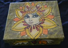 RARE Mexican Folk Art ABELARDO RUIZ Paper Mache Covered Box Flower Girl