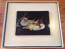 """Oriental Chinese Brush Painting Ink Silk Art-Plum 15.5 x 13"""""""