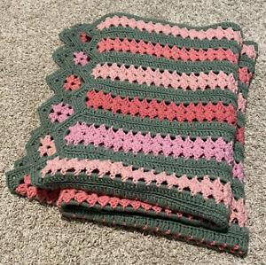 "Handmade Crochet Knit Throw Blanket Pink / Green Striped 64"" X 42"" EUC"