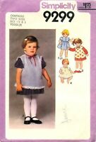 Simplicity #9299 Sewing Pattern Toddlers Dress Pinafore Top Panties Size 1/2 & 1