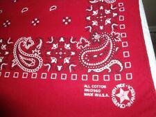 2 Vtg.All Cotton Usa Red Bandana-Scarf,Hankie,Euc. ,Paisley And Geometric Design