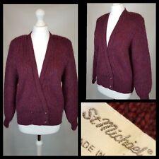 Vintage St Michaels Mohair Blend Burgundy Cardigan Size 14