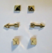 Jewelry Lot 3 Pairs Gold Tone ARROWS & Anvil SPIKES  pierced Earrings NO BACKS