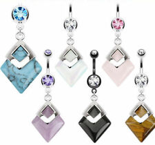 Diamond Shaped Semi-Precious Belly Ring Natural Stone Pierced Navel Naval 14g