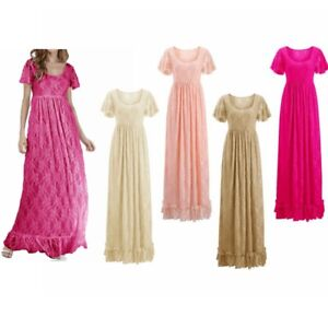 Maternity Pleated Lace Gown Short Sleeve Wedding Party Photography Maxi Dress