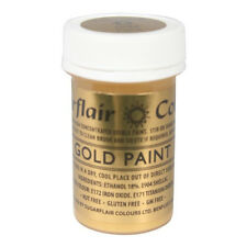 Sugarflair Gold Edible Paint Cake Icing Matt Colour for Sugarpaste Decorating