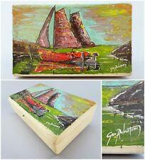 Hand Painted Folk Art Box Sailboat Harbor Scene Artist Signed George Robertson
