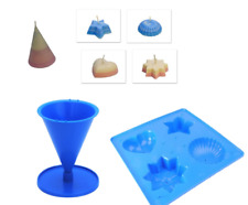 Set x 2, Tray with 4 Different Shapes & Cone Shaped Candle Moulds Molds. S7690