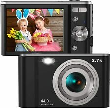 Digital Camera HD 2.7K 44 MP Vlogging Camera with Webcam, Point & Shoot Digital