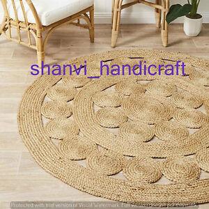 Handmade Braided Round Area Rug Rag Boho Natural Beige Colour Jute Mat Floor Rug