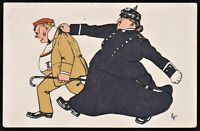 1909 LITHO GERMAN POLICE ARTIST SIGN ANTIQUE POSTCARD CARICATURE