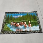 Vintage 1970s Beautiful River of Horses Wall Tapestry Rug Wall Hanging 56 x 39