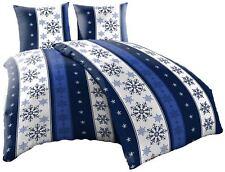 Thermofleece Bettwäsche 135x200 4-Teilig Winter blau Sterne Schnee