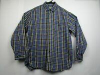 Vintage Mens LL Bean L Blue Plaid Long Sleeve Button Front Casual Flannel Shirt