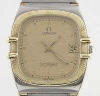 Omega Ω Constellation Chronometer Two-Tone SS/18k Quartz Watch w/ Date Feature