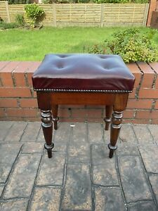 Vintage ,old Stool ,mahogany Turned Legs / Frame ,red Leather Top ,piano ,desk