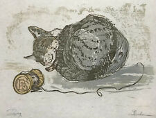 MID-CENTURY MODERN Woodcut ~ SLEEPING CAT ~ 1950s Color CLARENCE E. SHERDON