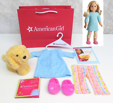 American Girl Doll HONEY PJS + PET DOG Pajamas Slippers Pop Book Kind Charm BAG!