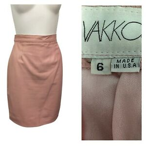 1980s Pink Leather Skirt / 80s High Waist Fitted Pencil Skirt Soft Leather XS/S