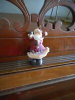 "Vintage Old World Santa Ringing Bell Christmas Tree Ornament, Resin, 3-1/4"""