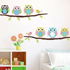 1 X Animal Cartoon Owl Tree Vinyl Wall Stickers for Kids Rooms Boys Girl CTO