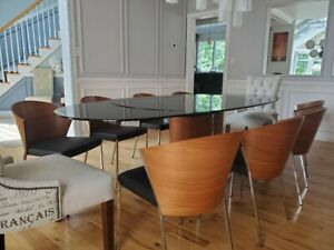 Calligaris table and 10 chairs