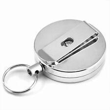 Recoil key ring key holder polished metal finish