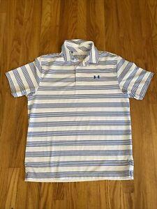 Under Armour Heat Gear Loose Fit White Blue Stripe Golf Polo L Mint!