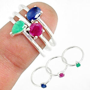 925 Silver 2.86cts Natural Blue Sapphire Emerald Ruby 3 Rings Size 7 R79840