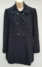 Black Double Breasted Military Style Coat Jacket By WAREHOUSE, Size 12, Lined