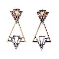 Boucles d'Oreilles Clips Doré Art Déco Triangle Cristal Vintage Epoque J6
