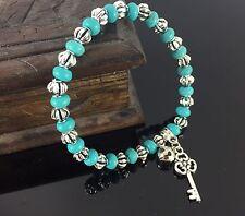 Tibetan Turquoise Bead Gemstone Bracelet Beads Bangle Beaded Key And Bell Design